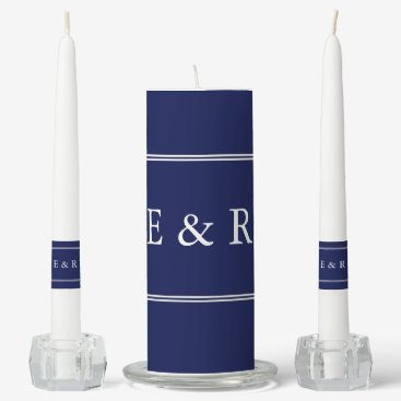 Beach Themed Classic Dark Navy Blue Wedding Unity Candle Set
