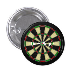 Classic Dart Board Design, Darts, Dart Games 1 Inch Round Button