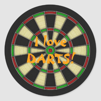 Classic Dart Board Design, Darts, Dart Games Classic Round Sticker