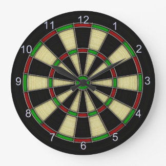 Classic Dart Board Design, Darts, Dart Games Large Clock