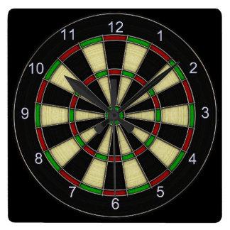 Classic Dart Board Design, Darts, Dart Games Square Wall Clock