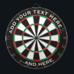 "Classic Dartboard with custom text<br><div class=""desc"">Dartboard with classic colors and two custom text areas.</div>"