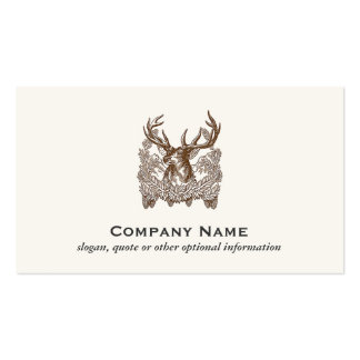 Classic Deer Etching Rustic Outdoors Business Cards