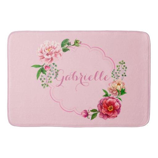 Classic Design: Pretty Pink Floral Frame Bathroom Mat | Zazzle