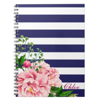 Classic Design: Pretty Pink Floral Roses & Stripes Notebook