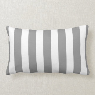 Classic Designer Stripes in Grey and White Lumbar Pillow