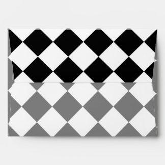 Classic Diamond Black and White Checkers Decor Envelope