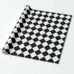 Classic Diamond Black and White Checkers Gift Wrap Paper