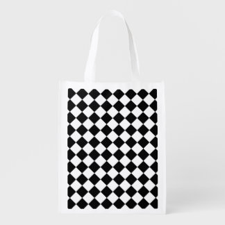 Classic Diamond Black and White Checkers Reusable Grocery Bag