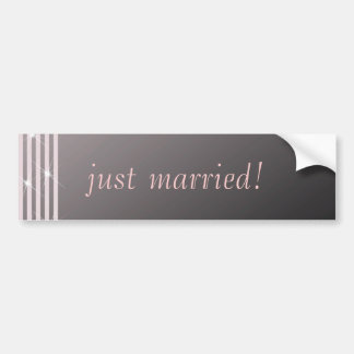 Classic Diamond Pink Wedding Bumper Sticker