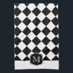 "Classic Diamonds Monogram - Black White Hand Towel<br><div class=""desc"">Classically elegant but bold diamond pattern in contrasting colors.</div>"