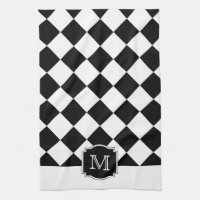 Classic Diamonds Monogram - Black White Hand Towel