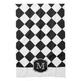 Classic Diamonds Monogram - Black White Kitchen Towels