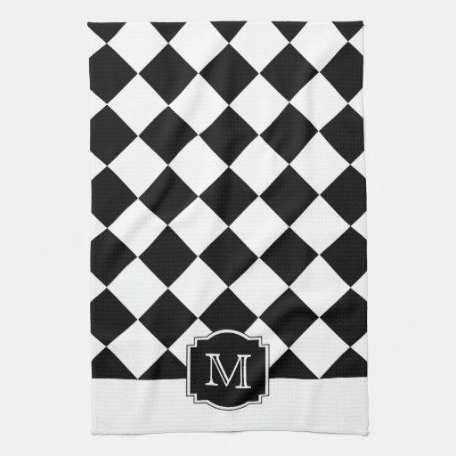 Classic Diamonds Monogram - Black White Towels