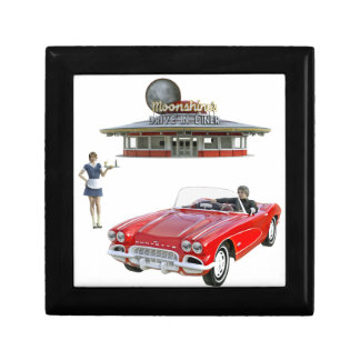 Classic Diner and Car with Waitress Serving Gift Box