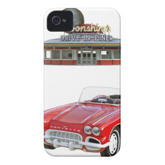 Classic Diner and Car with Waitress Serving iPhone 4 Cover