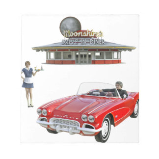 Classic Diner and Car with Waitress Serving Notepad