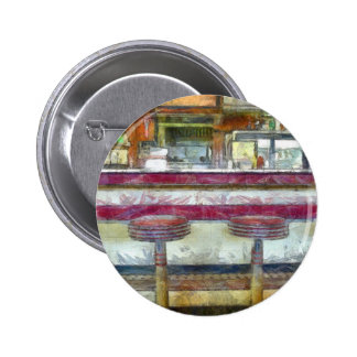 Classic Diner Stools Watercolor Pinback Button