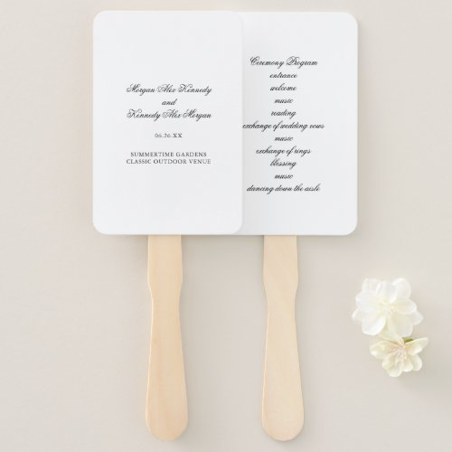 Classic DIY Wedding Ceremony Program Hand Fan