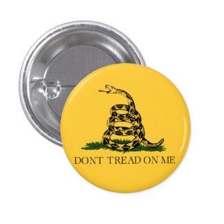 Classic Don't Tread on Me, Gadsden flag tea party Button