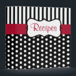 """Classic Dot Recipe Binder<br><div class=""""desc"""">Classic black and white dots  and a red accent give this recipe binder retro style. Use this empty binder as a recipe organizer,  cookbook,  recipe book,  recipe binder,  etc... The design is from original art.</div>"""
