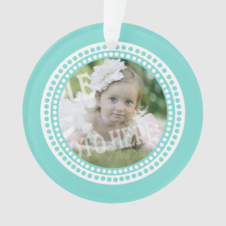 Classic Dots Baby Photo Aqua Ornament