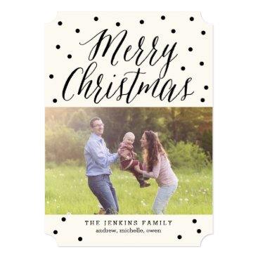 Christmas Themed Classic Dots Christmas Holiday Photo Cards