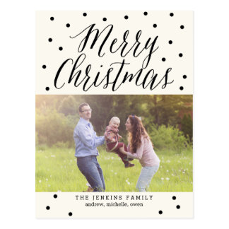 Classic Dots Christmas Photo Card Postcard