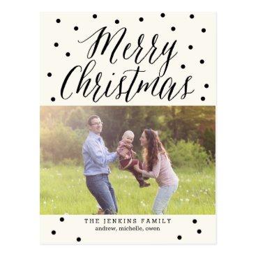 Christmas Themed Classic Dots Christmas Photo Card Postcard