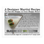 Classic Dry Gin Martini Recipe Postcard