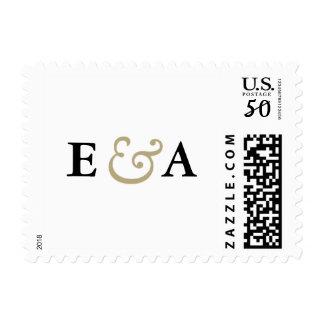 Envelopements Wedding - Classic Elegance Monograms Gold Ampersand Postage