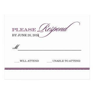 Classic Elegance Wedding Reply Postcard