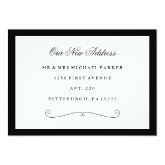 Classic Elegant Black and White Change of Address Card