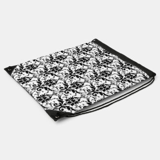 Classic Elegant Black Damask Pattern on White Drawstring Backpack