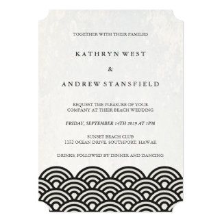 Classic Elegant Black+White Beach Wedding Card