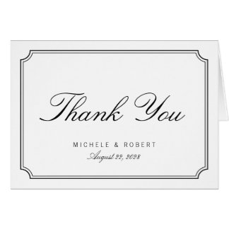 Classic Elegant Black White Thank You Note Card