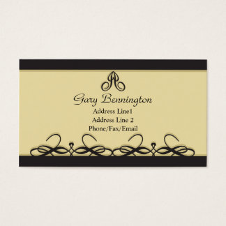 Classic Elegant Business Card: Taupe and Black Business Card