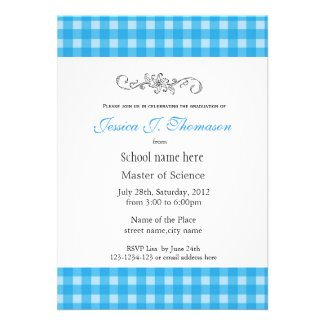 Classic, elegant country blue plaids graduation personalized invite