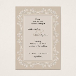 Classic Elegant Damask Save The Date Wedding Mini Business Card