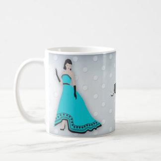 Classic Elegant Girl in Turquoise Mug