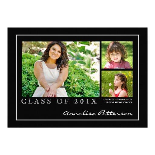 Classic & Elegant Graduation 3 Photo Announcement