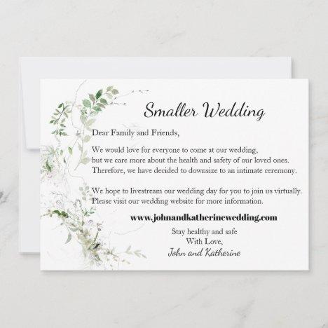 Classic Elegant Green Leaves Smaller Wedding Announcement