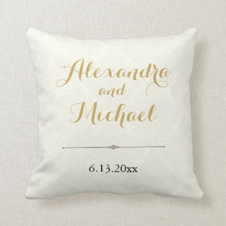 Classic Elegant Ivory Gold Black Damask Wedding Throw Pillow