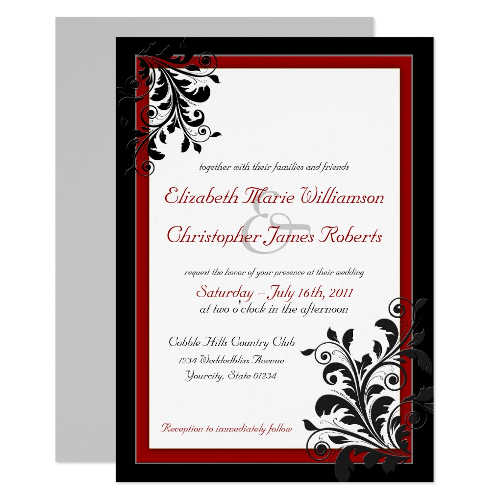 Classic Elegant Red Wedding Invitation
