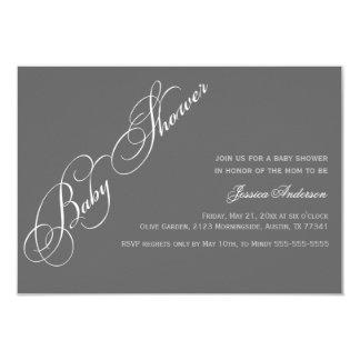 Classic Elegant Script Baby Shower Gray Invitation