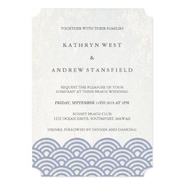 Beach Themed Classic Elegant Soft Purple   White Beach Wedding Card