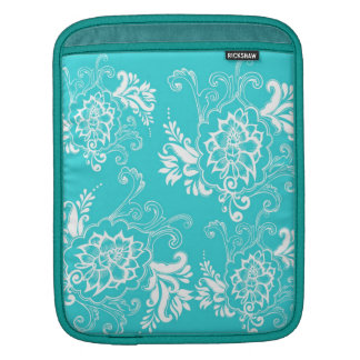 Classic, elegant, stylish. girly aqua blue floral iPad sleeve