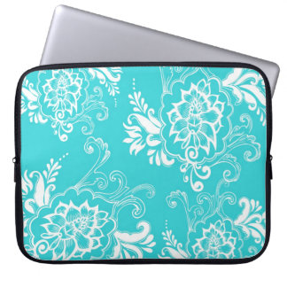 Classic, elegant, stylish. girly aqua blue floral laptop sleeve