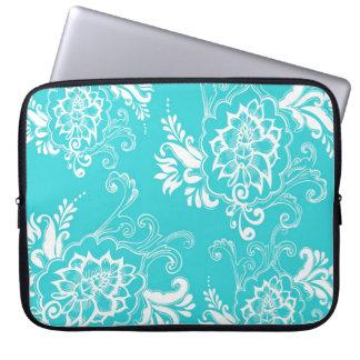 Classic, elegant, stylish. girly aqua blue floral laptop sleeves