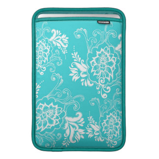 Classic, elegant, stylish. girly aqua blue floral MacBook sleeve